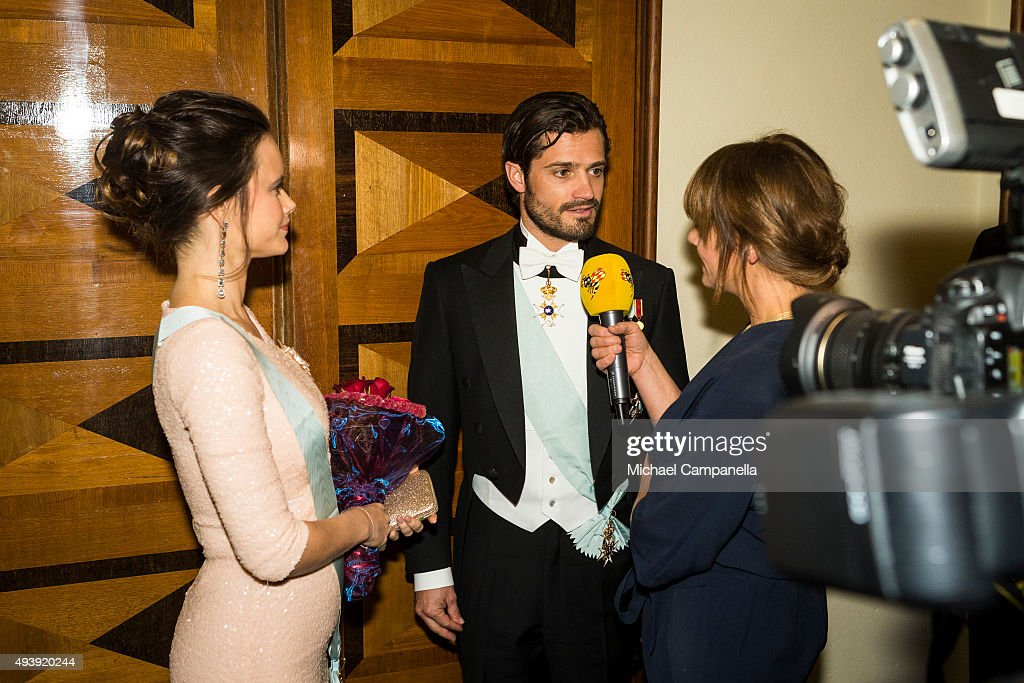 Prince Carl Phillip and Princess Sofia of Sweden attend The Royal Swedish Academy of Engineering Sciences' Formal Gathering on October 23rd, 2015 in Stockholm, Sweden.