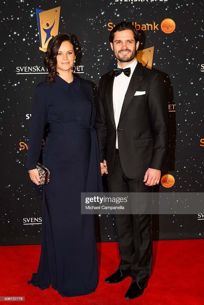 Prince Carl Phillip and Princess Sofia of Sweden attend the Swedish Sports Gala at the Ericsson Globe on January 25, 2016 in Stockholm, Sweden.