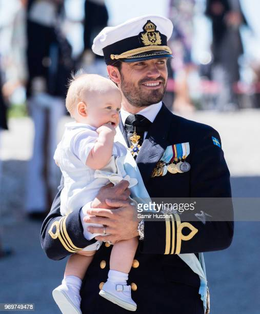 Prince Carl Phillip of Sweden and Prince Gabriel of Sweden attend the christening of Princess Adrienne of Sweden at Drottningholm Palace Chapel on...