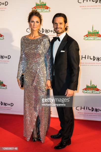 Prince Carl Phillip of Sweden and Princess Madeleine of Sweden arrive at a charity dinner in connection with the World Childhood Foundations 20th...