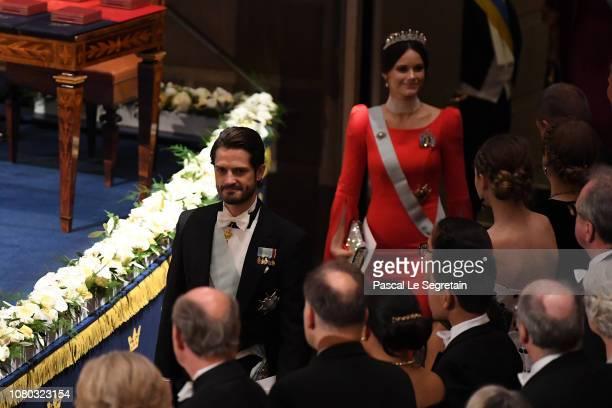 Prince Carl Phillip of Sweden and Princess Sofia of Sweden attend the Nobel Prize Awards Ceremony at Concert Hall on December 10 2018 in Stockholm...