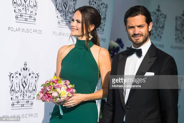 Prince Carl Phillip of Sweden and Princess Sofia of Sweden attend the 2018 Polar Music Prize award ceremony at the Grand Hotel on June 14 2018 in...