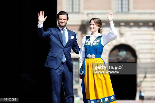 Prince Carl Phillip of Sweden and Princess Sofia of Sweden participate in a ceremony celebrating Sweden's national day at the Royal Palace on June 6...