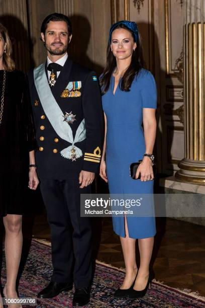 Prince Carl Phillip of Sweden and Princess Sofia of Sweden pose for a picture at the Stockholm Royal Palace on November 13 2018 in Stockholm Sweden...