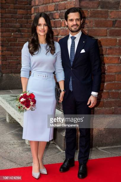 Prince Carl Phillip of Sweden and Princess Sofia of Sweden visit Stockholm City Hall for a lunch in connection with the Italian state visit on...