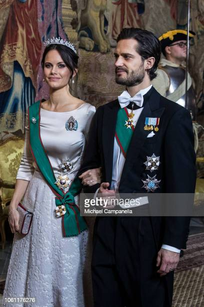 Prince Carl Phillip of Sweden arrives with wife Princess Sofia of Sweden at a gala dinner hosted by the Swedish royal family in connection with the...