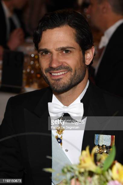 Prince Carl Phillip of Sweden attends the Nobel Prize Banquet 2018 at City Hall on December 10 2019 in Stockholm Sweden