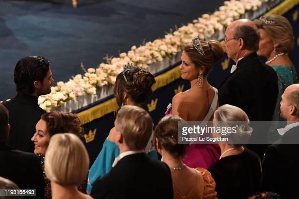 Prince Carl Phillip of Sweden, Princess Sofia of Sweden and Princess Madeleine of Sweden attend the Nobel Prize Awards Ceremony at Concert Hall on...