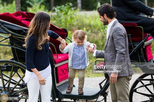 Prince Carl Phillip, Princess Sofia, and Prince Alexander of Sweden attend the inauguration of Prince Alexander's viewpoint at the Nynas Nature...