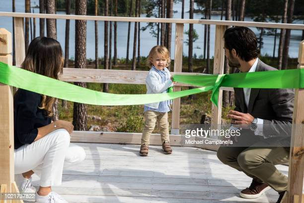 Prince Carl Phillip Princess Sofia and Prince Alexander of Sweden attend the inauguration of Prince Alexander's viewpoint at the Nynas Nature Reserve...