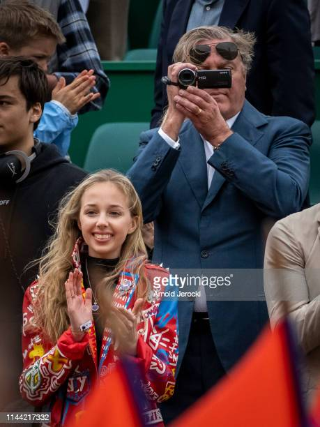Prince Carlo Duke of Castro and his daughter Princess Maria Chiara attend the Rolex MonteCarlo Masters at MonteCarlo Country Club on April 21 2019 in...