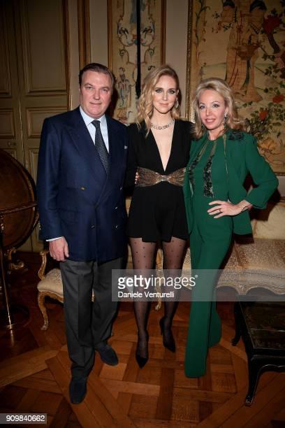Prince Carlo Duke of Castro Chiara Ferragni and Princess Camilla Duchess of Castro attend the Cocktail Dinner for the new Pomellato campaign launch...
