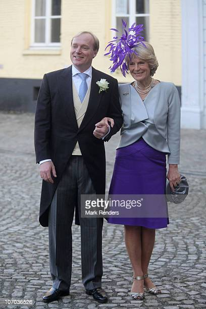 Prince Carlos de Bourbon de Parme and Princess Irene of the Netherlands arrive for the Royal Wedding of Princess Annemarie Gualtherie van Weezel and...