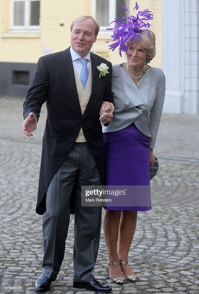 Prince Carlos de Bourbon de Parme and Princess Irene of the Netherlands arrive for the Royal Wedding of Princess Annemarie Gualtherie van Weezel and Prince Carlos de Bourbon de Parme at Abbaye de la Cambre on November 20, 2010 in Brussels, Belgium.