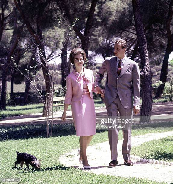 Prince Carlos of BourbonTwo Sicilies the future King Juan Carlos I of Spain with his wife Princess Sophia of Greece and Denmark in their garden at...