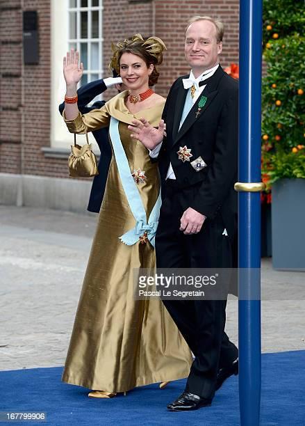 Prince Carlos Xavier Bernardo Sixto Maria of BourbonParma and his wife Annemarie Gualtherie van Weezel depart the Nieuwe Kerk to return to the Royal...