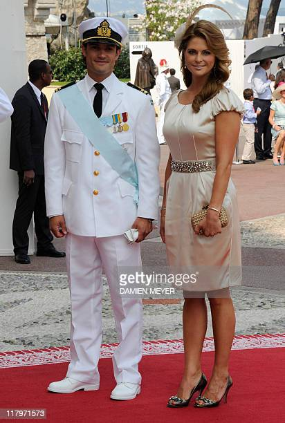 Prince CarlPhilip of Sweden and Princess Madeleine of Sweden arrive for the religious wedding of Prince Albert II of Monaco and Princess Charlene of...