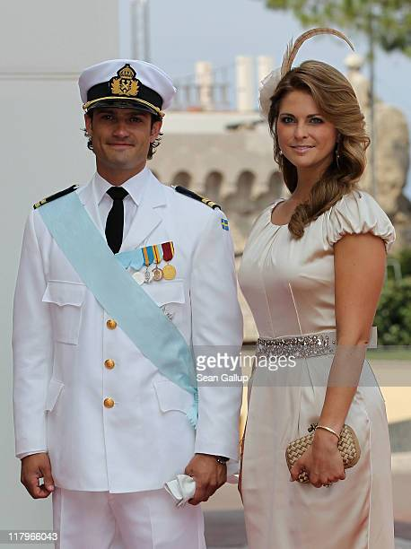 Prince CarlPhilip of Sweden and Princess Madeleine of Sweden attend the religious ceremony of the Royal Wedding of Prince Albert II of Monaco to...