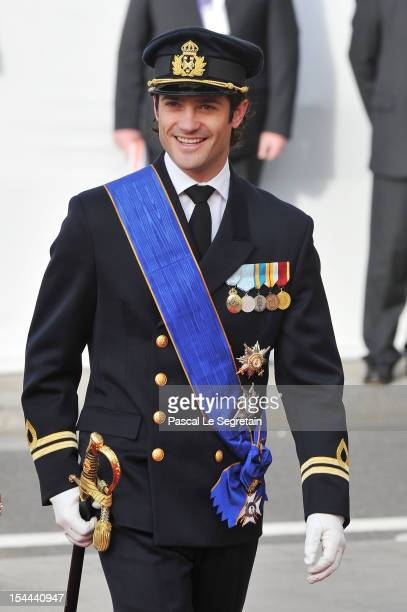 Prince CarlPhilip of Sweden attends the wedding ceremony of Prince Guillaume Of Luxembourg and Princess Stephanie of Luxembourg at the Cathedral of...