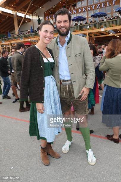 Prince Casimir zu SaynWittgensteinBerleburg and his fiance Alana Bunte during the opening of the Oktoberfest 2017 at Theresienwiese on September 16...