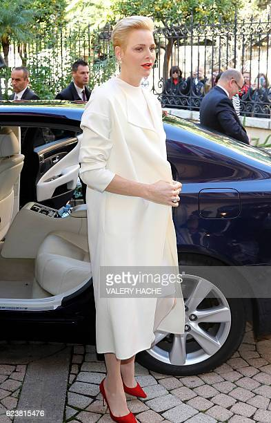 Prince Charlene of Monaco arrives at the Red Cross headquarters in Monaco before giving parcels to Monaco's residents during the annual charity...
