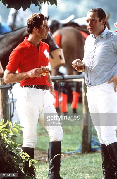 Prince Charles After Polo Drinking Beer With Friend Lord Sam Vestey At Cirencester Polo Club Cirencester Park