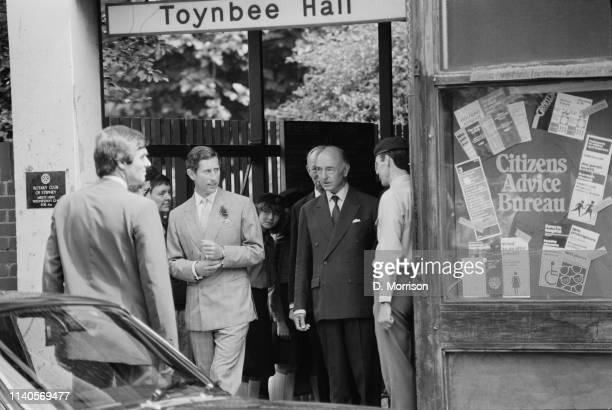 Prince Charles and British politician John Profumo at Toynbee Hall London UK 19th July 1984
