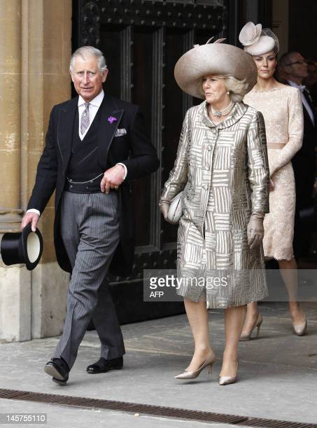 Prince Charles and Camilla Duchess of Cornwall and Catherine Duchess of Cambridge leave Westminster Hall after a Diamond Jubilee Luncheon for the...