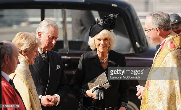 Prince Charles and Camilla Duchess of Cornwall attend a memorial service for Sir David Frost at Westminster Abbey on March 13 2014 in London England