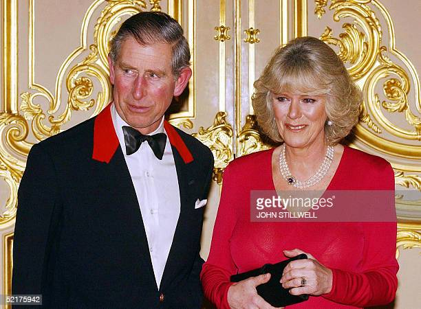 Prince Charles and Camilla Parker Bowles arrive for a party at Windsor Castle after announcing their engagement earlier 10 February 2005 Britain's...