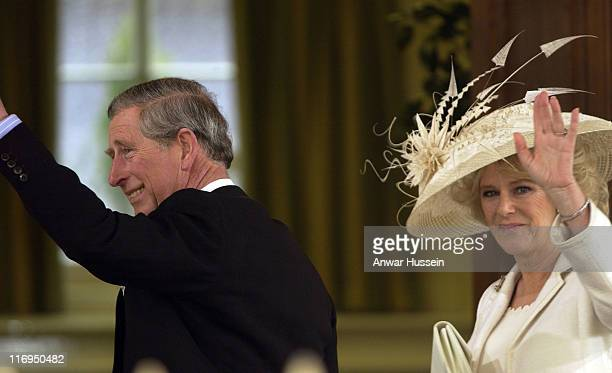 HRH Prince Charles and Camilla Parker Bowles during The Royal Wedding of HRH Prince Charles and Mrs Camilla Parker Bowles Outside at Guildhall in...