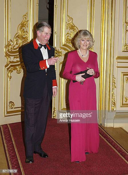 Prince Charles and Camilla ParkerBowles attend a dinner at Windsor Castle February 10 2005 in Windsor England The dinner was the first public...