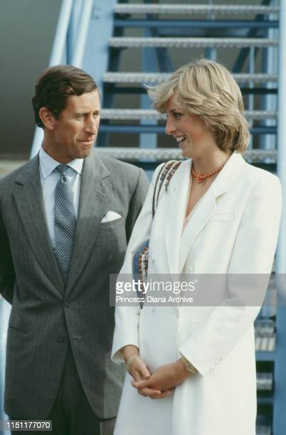Prince Charles and Diana, Princess of Wales arrive back at RAF Lossiemouth in Scotland after their honeymoon cruise in the Mediterranean, September...