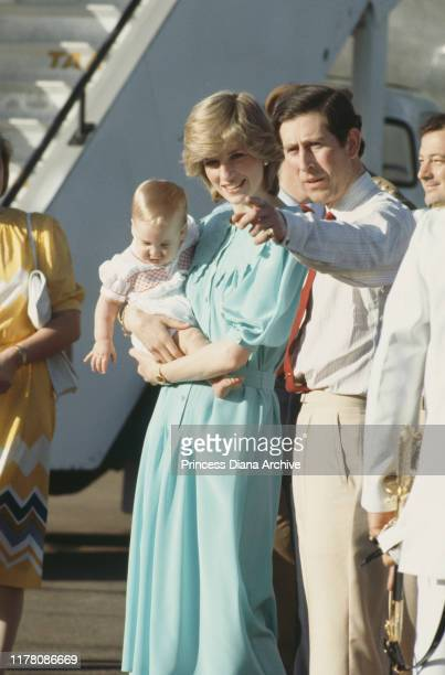 Prince Charles and Diana Princess of Wales arrive in Alice Springs Australia with their son Prince William March 1983
