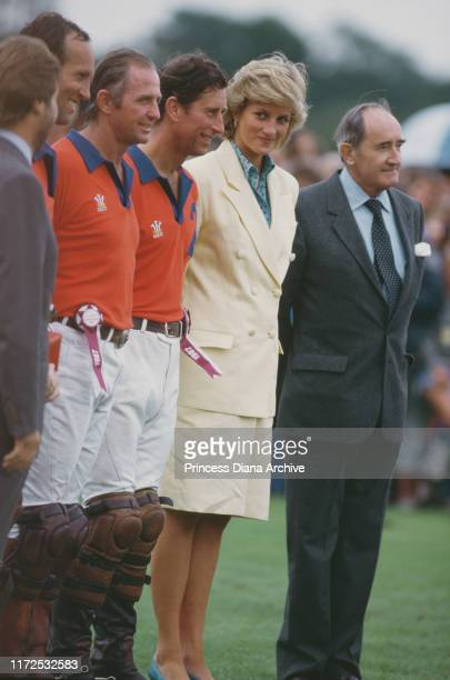 Prince Charles and Diana, Princess of Wales at a Cartier polo match at Smith's Lawn at the Guards Polo Club in Windsor, UK, July 1897.