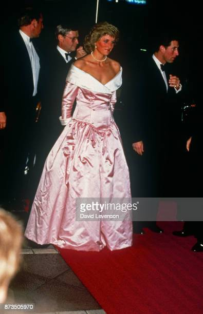 Prince Charles and Diana Princess Of Wales at a Gala Performance By The Royal Ballet At The Berlin Opera House Germany on November 1 1987 She is...