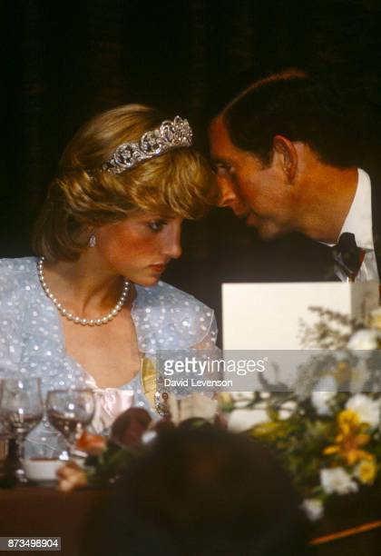 Prince Charles and Diana, Princess of Wales at a State Banquet in Parliament House, Wellington, New Zealand on April 20, 1983.