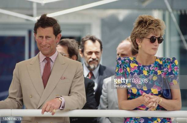 Prince Charles and Diana, Princess of Wales at Seville Expo '92, the Universal Exposition of Seville, Spain, 21st May 1992. The Princess is wearing a...