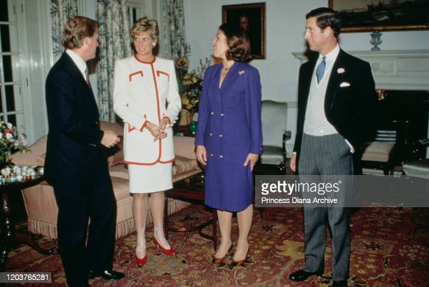 Prince Charles and Diana Princess of Wales at the British Embassy in Japan with US Vice President Dan Quayle and his wife Marilyn November 1990