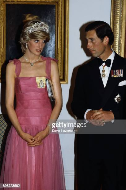Prince Charles and Diana Princess of Wales at the Crest Hotel in Brisbane Australia for a reception on April 10 1983 during the Royal Tour of...