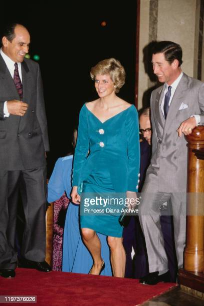 Prince Charles and Diana Princess of Wales at the Hotel Borobudur in Jakarta Indonesia November 1989 Diana is wearing a suit by Catherine Walker