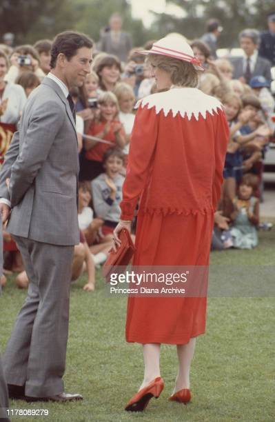 Prince Charles and Diana Princess of Wales at the Memorial Oval in Port Pirie Australia 6th April 1983 She is wearing a Jan Van Velden dress and a...