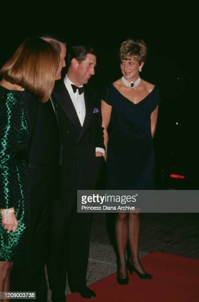 Prince Charles and Diana Princess of Wales at the National Arts Centre in Ottawa Canada with Canadian Prime Minister Brian Mulroney and his wife Mila...