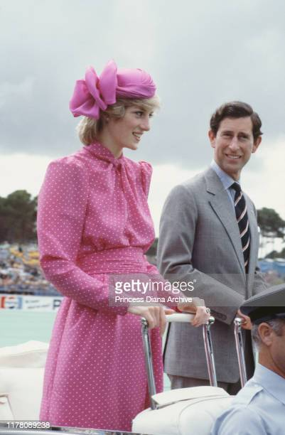 Prince Charles and Diana Princess of Wales at the Perth Hockey Stadium in Bentley Perth Western Australia 7th April 1983 Diana is wearing a pink suit...