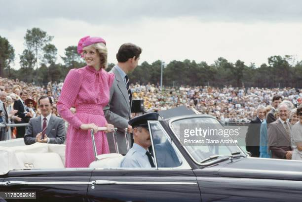 Prince Charles and Diana, Princess of Wales at the Perth Hockey Stadium in Bentley, Perth, Western Australia, 7th April 1983. Diana is wearing a pink...