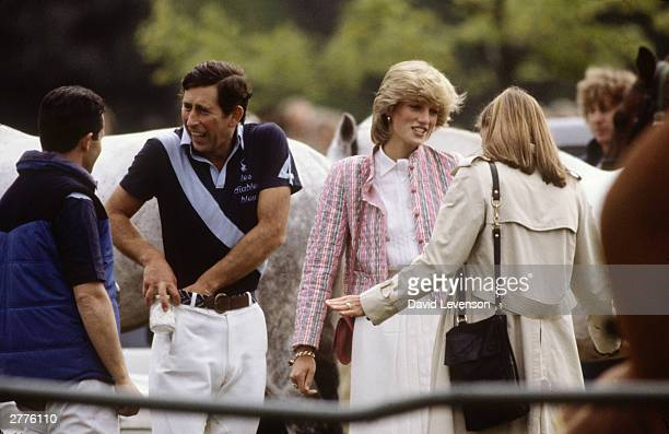 Prince Charles and Diana Princess of Wales at the Queen's Cup Polo match on May 29 1983 at Guards Polo club in Smiths Lawn Windsor England
