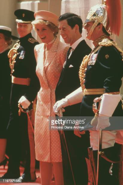 Prince Charles and Diana Princess of Wales at Victoria Station in London awaiting the arrival of Kenan Evren the President of Turkey on a state visit...