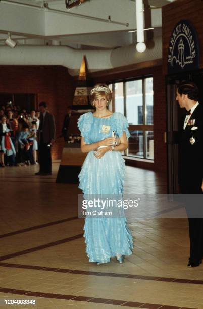Prince Charles and Diana, Princess of Wales attend a formal dinner at the Saint John Convention Centre in Saint John, New Brunswick, Canada, 18th...