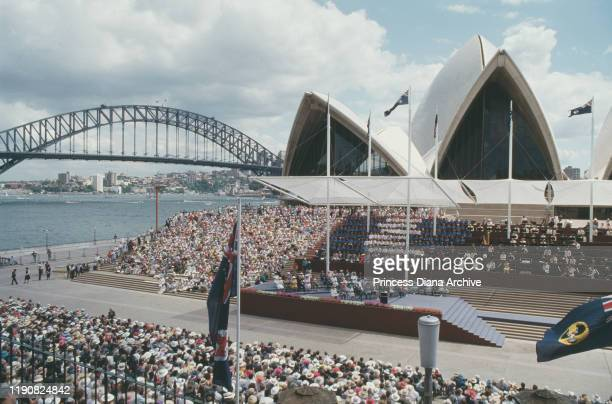 Prince Charles and Diana, Princess of Wales attend the Australian Bicentenary celebrations outside the Sydney Opera House in Sydney Harbour, Sydney,...