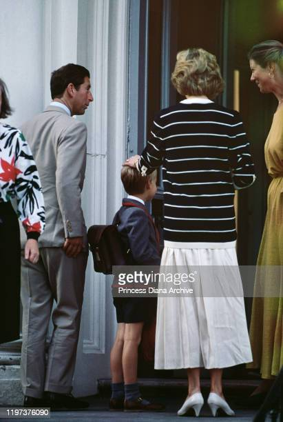 Prince Charles and Diana, Princess of Wales bring their son Prince William to Wetherby School in London for the start of his new term, September 1989.